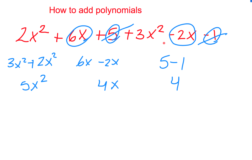 Add polynomials ged practice question